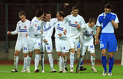 Players of Primorje celebrate at 27th Round of Slovenian First League football match between ND Hit Gorica and NK Primorje Ajdovscina in Sports park Nova Gorica, on April 8, 2009, in Nova Gorica, Slovenia. (Photo by Vid Ponikvar / Sportida)