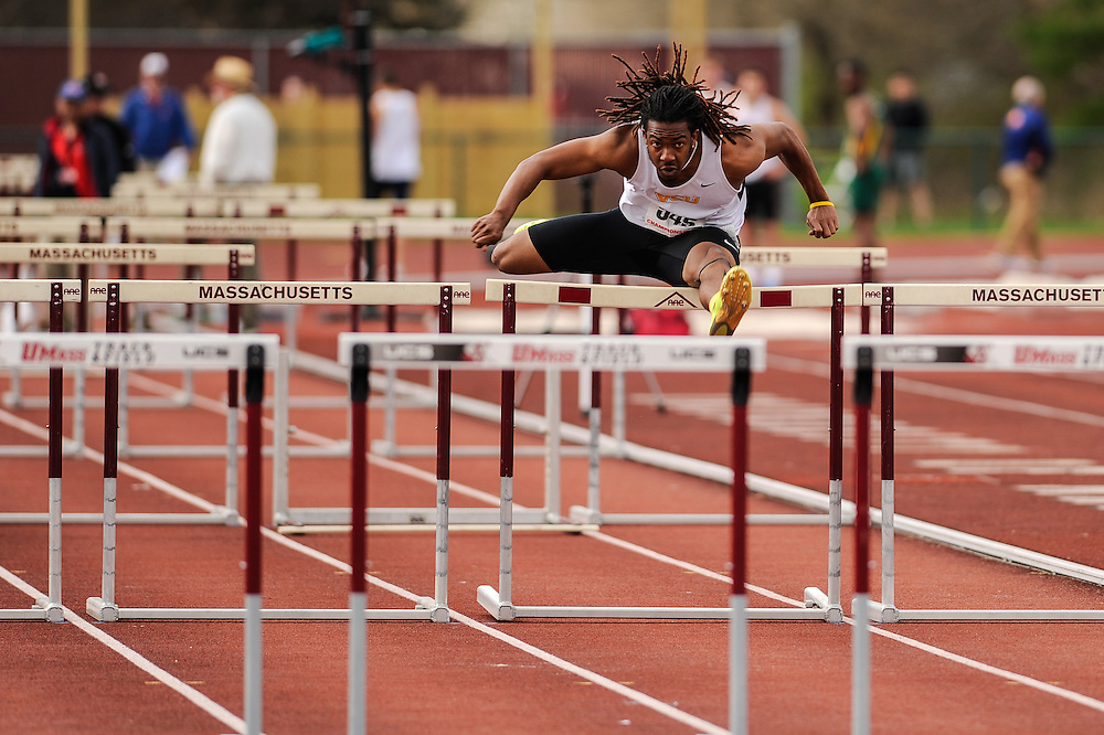 AMHERST, MA - MAY 4: Xavier Waller of Virginia Commonwealth University (545) competes in the decathlon 110 meter high hurdles on Day 2 of the Atlantic 10 Outdoor Track and Field Championships at the University of Massachusetts Amherst Track and Field Complex on May 4, 2014 in Amherst, Massachusetts. (Photo by Daniel Petty/Atlantic 10)