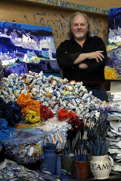 Scottish artist John Lowrie Morrison, also known as Jolomo in Tayvallich, Argyll where he has his studio.
