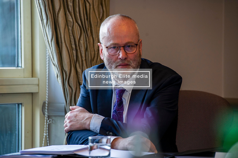 Pictured: Chief Executive John Ireland<br /> <br /> Members of the Scottish Fiscal Commission outlined forecasts that inform Scottish Government budget proposals in Edinburgh today.  Chair Dame Susan Rice DBE, was joined by commissioner Professor David Ulph CBE FRSE, Chief Executive John Ireland and Claire Murdoch Head of Devolved Taxes and Social Security at the publication of the February 2020 report