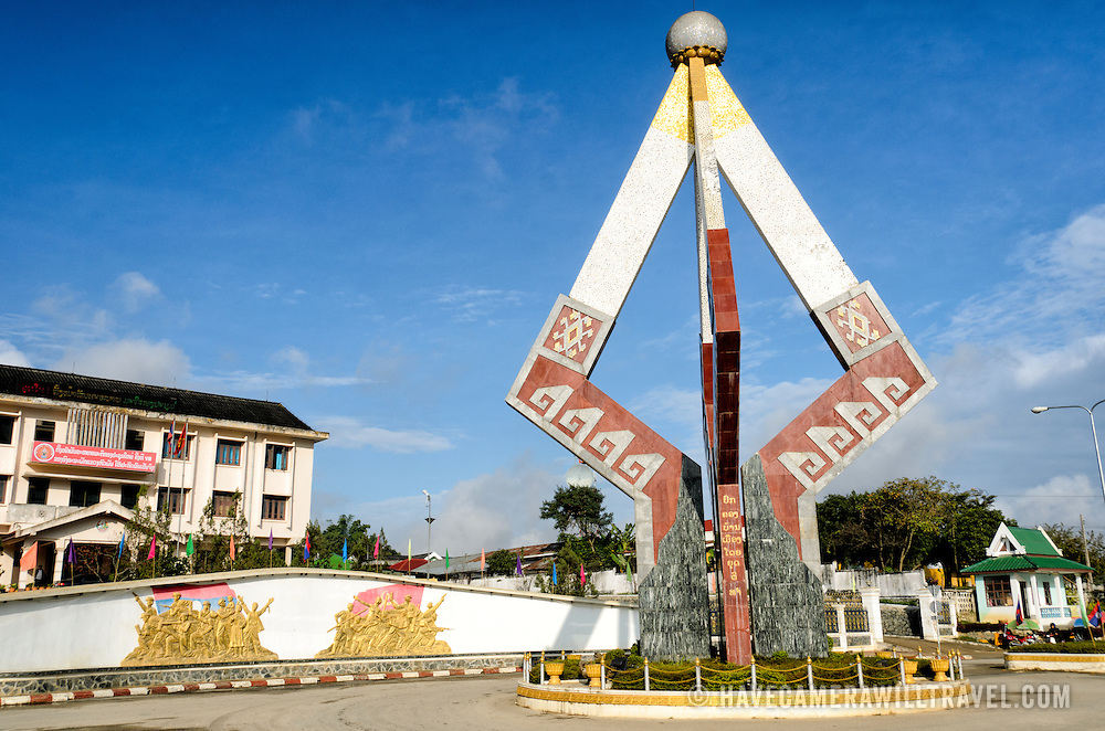The Independence Monument in downtown Sam Neua (also spelled Samneua, Xamneua and Xam Neua) in northeastern Laos.