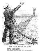 """The Peace Bridge of Boats. John Bull. """"I need liberty!"""" Uncle Sam. """"I want equality!""""  Both Together, """"Well, anyhow, we've got fraternity!"""""""