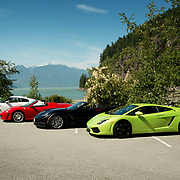 High performance super cars parked at Porteau Cove Provincial Park, south of Squamish BC, Canada.