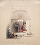Chapel of Elijah on Mount Horeb, Sinai, Color lithograph by David Roberts (1796-1864). An engraving reprint by Louis Haghe was published in a the book 'The Holy Land, Syria, Idumea, Arabia, Egypt and Nubia. in 1855 by D. Appleton & Co., 346 & 348 Broadway in New York.