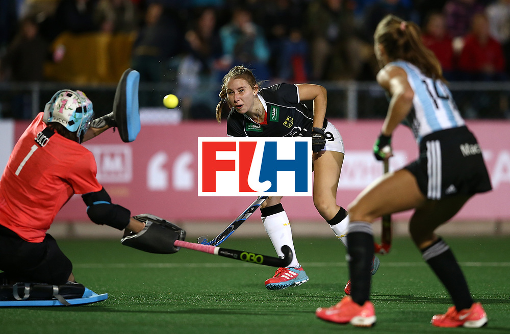 JOHANNESBURG, SOUTH AFRICA - JULY 20:  Elisa Grave of Germany has her shot at goal saved by Belen Succi, Goalkeeper of Argentina during day 7 of the FIH Hockey World League Women's Semi Finals semi final match between Germany and Argentina at Wits University on July 20, 2017 in Johannesburg, South Africa.  (Photo by Jan Kruger/Getty Images for FIH)