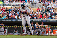 Miguel Cabrera #24 of the Detroit Tigers gets hit by a pitch against the Minnesota Twins on June 15, 2013 at Target Field in Minneapolis, Minnesota.  The Twins defeated the Tigers 6 to 3.  Photo: Ben Krause