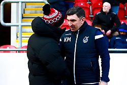 Bristol Rovers coach Kevin Maher shakes hands with Rotherham United manager Paul Warne - Mandatory by-line: Ryan Crockett/JMP - 18/01/2020 - FOOTBALL - Aesseal New York Stadium - Rotherham, England - Rotherham United v Bristol Rovers - Sky Bet League One