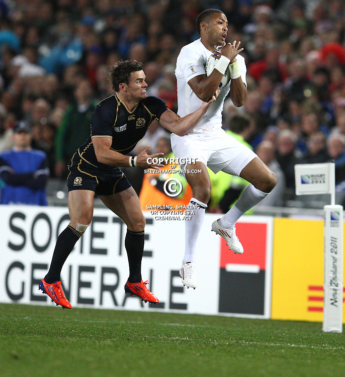 AUCKLAND, NEW ZEALAND - OCTOBER 01, Delon Armitage jump high during the 2011 IRB Rugby World Cup match between England and Scotland at Eden Park on October 01, 2011 in Auckland, New Zealand<br /> Photo by Steve Haag / Gallo Images