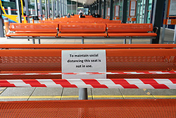Glasgow, Scotland, UK. 6 June 2020. Seating inside Buchanan Bus Station waiting area is cordoned off to maintain social distancing.  Iain Masterton/Alamy Live News