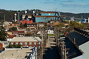 A view of the Edgar Thomson Works in Braddock, Pennsylvania, on April 23, 2016. Active since 1872, the mill is currently owned by U.S. Steel and is part of the Mon Valley Works.<br /> <br /> Home to Andrew Carnegie's first steel mill, Braddock was once a a bustling town with dozens of churches, schools, theaters, furniture stores, restaurants and breweries. Today the population hovers around 2,000, down from 20,000 in the 70's, all squeezed into less than one square mile. <br /> <br /> The town struggles with 30% unemployment, home prices around $5,000, and a median household income of $17,000.