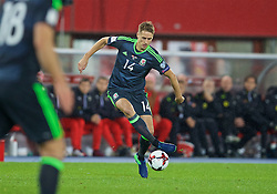 VIENNA, AUSTRIA - Thursday, October 6, 2016: Wales' David Edwards in action against Austria during the 2018 FIFA World Cup Qualifying Group D match at the Ernst-Happel-Stadion. (Pic by David Rawcliffe/Propaganda)
