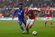 Nottingham Forest forward Joe Lolley (23) battles with Birmingham City midfielder Jacques Maghoma (19) during the EFL Sky Bet Championship match between Nottingham Forest and Birmingham City at the City Ground, Nottingham, England on 3 March 2018. Picture by Jon Hobley.