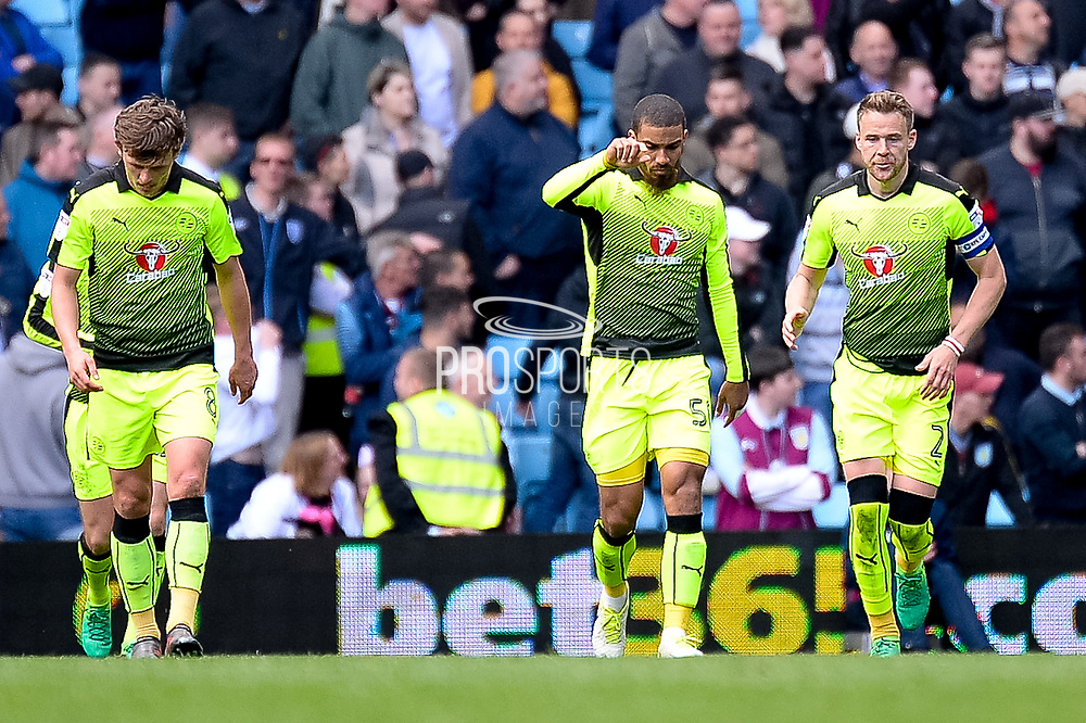 Reading striker (on loan from Bournemouth) Lewis Grabban (50) celebrates his penalty goal 1-3 during the EFL Sky Bet Championship match between Aston Villa and Reading at Villa Park, Birmingham, England on 15 April 2017. Photo by Dennis Goodwin.
