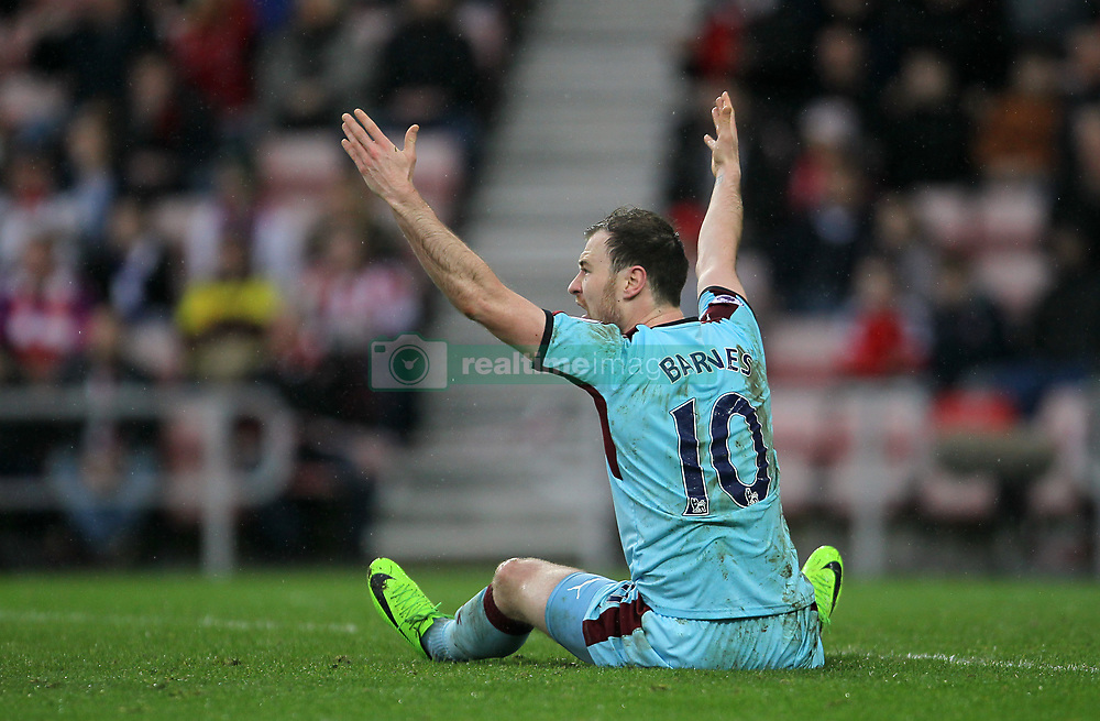 Burnley's Ashley Barnes appeals to the referee