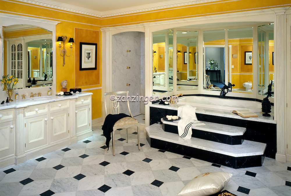 Residential, Master Bathroom, Mirrored Tub, Grey, Black, Marble Floor, Design, lifestyle, room, interior, trendy, residence, home, house, .jpg