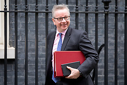 © Licensed to London News Pictures. 29/01/2018. London, UK. Environment, Food and Rural Affairs Secretary Michael Gove arriving in Downing Street to attend a Brexit meeting this morning. Photo credit : Tom Nicholson/LNP