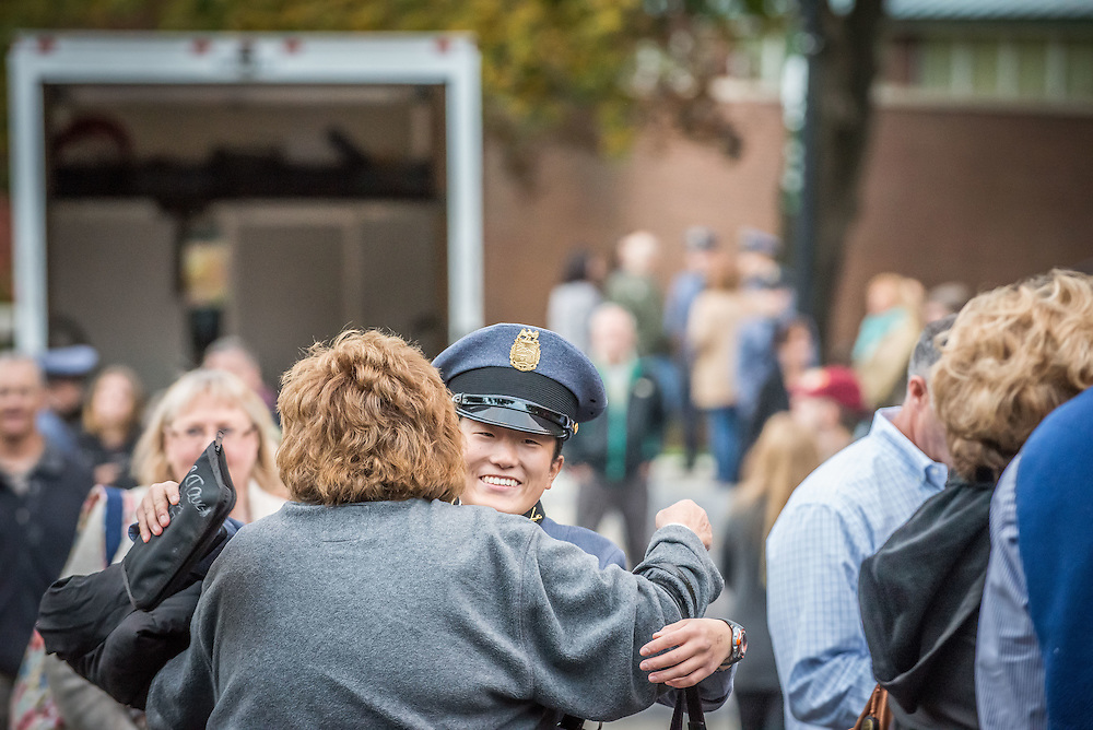 Photos of Freshmen Corps members (Rooks) seeing their parents for the first time since arrival weekend.