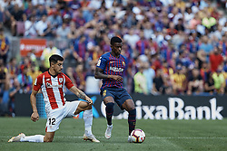 September 29, 2018 - Barcelona, Barcelona, Spain - Nelson Semedo (R) of FC Barcelona competes for the ball with Yuri Berchiche Izeta of Athletic Club de Bilbao during the La Liga match between FC Barcelona and Athletic Club de Bilbao at Camp Nou on September 29, 2018 in Barcelona, Spain  (Credit Image: © David Aliaga/NurPhoto/ZUMA Press)
