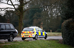 UK ENGLAND BERKSHIRE BUCKLEBURY 22MAR11 - A Thames Valley police car stands parked near the entrance to the driveway of the Middleton residence in Bucklebury, Berkshire, England...jre/Photo by Jiri Rezac..© Jiri Rezac 2011