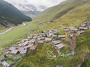 Aerial view of the village of Dartlo in Tusheti, Georgia.