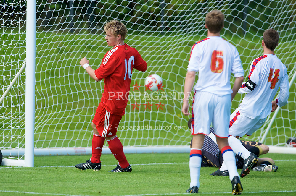 KIRKBY, ENGLAND - Saturday, August 23, 2008: Liverpool's Marvin Pourie scores the second goal against Crystal Palace during the FA Academy Under 18 match at the Academy. (Photo by David Rawcliffe/Propaganda)