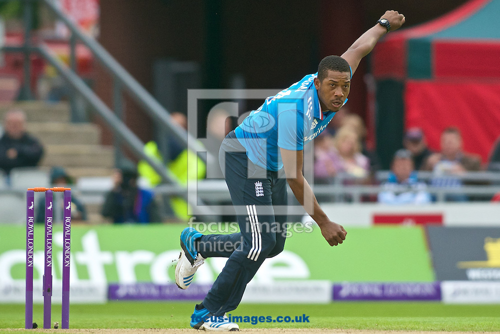 Chris Jordan of England bowls the ball that takes the wicket of Kumar Sangakkara of Sri Lanka during the Royal London One Day Series match at Old Trafford Cricket Ground, Stretford<br /> Picture by Ian Wadkins/Focus Images Ltd +44 7877 568959<br /> 28/05/2014