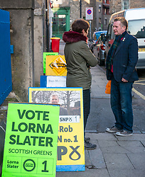 Leith, Edinburgh, Scotland, United Kingdom, 11 April 2019. Leith Walk Council By-Election:  One of the polling stations at Lorne Primary School, with Scottish Green activist Jenny talking to a voter. The election is taking place as a result of the resignation of Councillor Marion Donaldson. The election fields 11 candidates, including the first ever candidate for the For Britain Movement in Scotland, Paul Stirling.  The For Britain Movement was founded by former UKIP leadership candidate Anne Marie Waters in March 2018.  <br /> <br /> Sally Anderson/ Edinburgh Elite Media