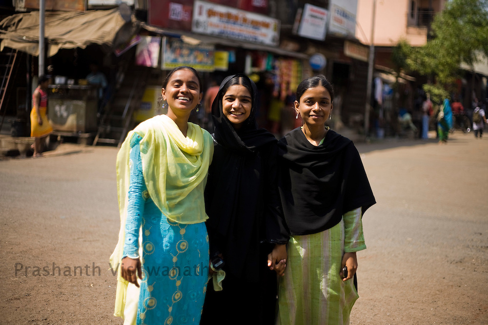 Tasleem Sheik,Shabina Shiek, and Yasim Sheik pose for a picture at the Kherwadi area, in Mumbai, India, on Monday February 10, 2009. They were students who have been benfitted through these self help groups to study further after their school days. They are now encouraging younger girls to continue their education and conduct orientation and meetings with the Mahila mandals. They were trained in Islamic Kanoon and the Hindu law, how to register a FIR, introduction to Womens righhts, self defence classes etc..Tasleem has done BA arts, Shabina is studying 2nd yr BA and Yasmin has also finished BA arts they are pursuing their careers and lookig for jobs etc..When the girls started travelling to attend the Mahila mandals activities there was resistence from home, after an orientation programme for family they also got involved in the Mandals activities..Photographer:  Prashanth Vishwanathan