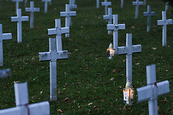 October 31, 2018 - Krakow, Poland - On the eve of All Saints' Day preparations get underway in Rakowicki Cemetery in Krakow..Ahead of the 1st November, All Saints Day, many people pay respects to dead family members, clean their family tombs, and many flowers and candles are placed on top of tombs.  The 1st of November in Poland is a day off from work, and many people travel to visit the graves of their loved ones. .On Wednesday, October 30, 2018, in Krakow, Poland. (Credit Image: © Artur Widak/NurPhoto via ZUMA Press)