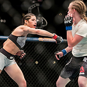 JJ Aldrich (black trunks) defeated Polyana Viana (white trunks) in a women's straw weight bout at UFC 227 held at the Staples Center in Los Angeles on August 4, 2018. Photo by Todd Bigelow for ESPN.