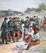 French army on Autumn manoeuvres: Men crowding round the regimental postman bringing them letters from home.  From 'Le Petit Journal', Paris, 23 September 1893.  France, Military, Soldier, Uniform