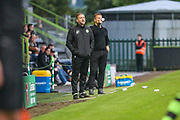 Forest Green Rovers assistant manager, Scott Lindsey and Forest Green Rovers manager, Mark Cooper during the EFL Cup match between Forest Green Rovers and Milton Keynes Dons at the New Lawn, Forest Green, United Kingdom on 8 August 2017. Photo by Shane Healey.