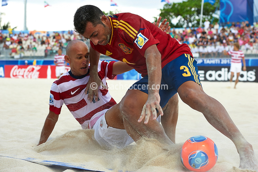 PAPEETE, TAHITI - OCTOBER 20:  FIFA Beach Soccer World Cup Tahiti 2013 between Spain and USA at Stadium Tahua To´ata  on October 20, 2013 in Papeete, Tahiti. (Photo by Manuel Queimadelos)