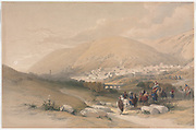 Nablus Ancient Shechem 1839 Color lithograph by David Roberts (1796-1864). An engraving reprint by Louis Haghe was published in a the book 'The Holy Land, Syria, Idumea, Arabia, Egypt and Nubia. in 1855 by D. Appleton & Co., 346 & 348 Broadway in New York.