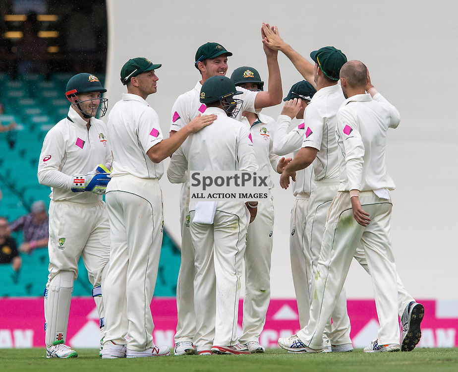 3rd Test Match 2015-16 Day 1, Australia v West Indies, Sydney Cricket Ground; 3 January 2016<br /> Celebrations for Australian Josh Hazlewood's runout of West Indian Marlon Samuels