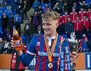 24th March 2018, McDiarmid Park, Perth, Scotland; Scottish Football Challenge Cup Final, Dumbarton versus Inverness Caledonian Thistle; Coll Donaldson of Inverness Caledonian Thistle withe his man of the match award and the Irn-Bru Cup