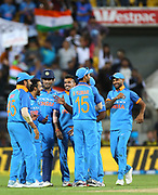 India's Mahendra Singh Dhoni celebrates his run out of Black Caps Jimmy Neesham during the Fifth ODI of the 2019 ANZ International ODI Series. Blackcaps v India at Westpac Stadium, Wellington, Sunday 3rd February 2019. © Copyright Photo: Grant Down / www.photosport.nz