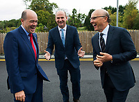 07/09/2017 Minister Denis Naughten who announced a joint venture between enet and SSE which will roll-out superfast broadband to 115,000 premises in regional Ireland. Seen here with Stephen Wheeler, MD SSE Ireland and David C. McCourt, founder of Granahan McCourt Capital and Chairman of enet in Ballinasloe, Co. Galway.<br />  Photo:Andrew Downes, xposure