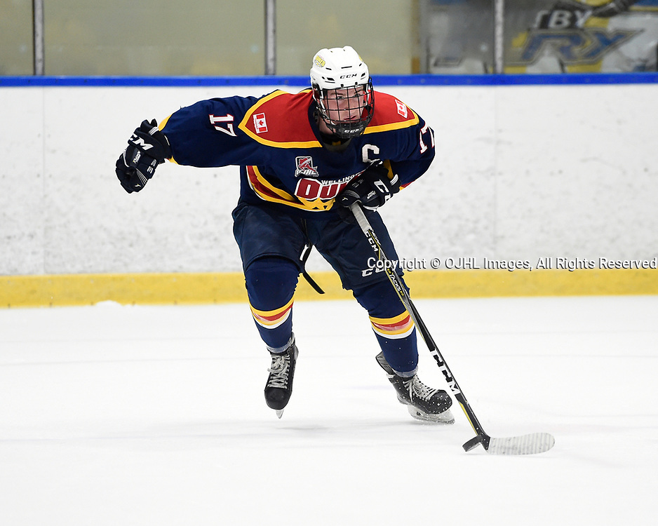 WHITBY, ON - SEP 24,  2017: Ontario Junior Hockey League Governors Showcase game between the Whitby Fury and Wellington Dukes, Colin Doyle #17 of the Wellington Dukes skates with the puck during the first period.<br /> (Photo by Andy Corneau / OJHL Images)