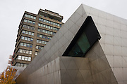 Exterior of the Daniel Libeskind designed London Metropolitan University's modern Graduate Centre...London Metropolitan University is one of the foremost providers of undergraduate, postgraduate, professional and vocational education and training in Britain. Their courses are planned in consultation with employers and examining bodies in commerce, industry, the world of art and design, the financial services industries and other professions. The end result is high quality courses that are of direct relevance to their field. The University is committed to social justice, equal opportunities and community involvement and has many years' experience of dealing with the needs of mature and overseas students. The first building, designed by Charles Bell, was opened in 1896 .