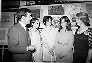 "28/06/1967<br /> 06/28/1967<br /> 28 June 1967<br /> Presentation of prizes at Navan Carpets ""Young Designer of the Year"" reception in the Royal Hibernian Hotel, Dublin. Image shows (l-r): Mr. Joe McAnthony, Navan Carpets Ltd.; Miss Janet Mullarney, Dublin; Miss Frances Boland, Rathfarnham, Dublin; Miss Anne Delap, Dublin and Miss V. Sheridan, Navan Carpets Ltd."