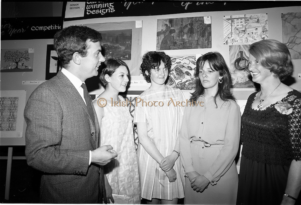 "28/06/1967<br /> 06/28/1967<br /> 28 June 1967<br /> Presentation of prizes at Navan Carpets ""Young Designer of the Year"" reception in the Royal Hibernian Hotel, Dublin. Image shows (l-r): Mr. Joe McAnthony, Navan Carpets Ltd.; Miss Janet Mullarney, Dublin; Miss Frances Boland, Rathfarnham, Dublin; Miss Anne Delap, Dublin and Miss V. Sheridan, Navan Carpets Ltd."