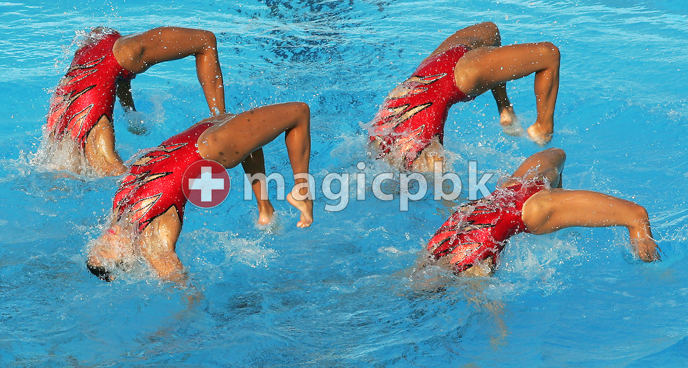 The Japanese team performs their routine during the synchronized swimming team-free competition at the FINA World Championships in Montreal, Quebec Monday 18 July, 2005.  (Photo by Patrick B. Kraemer / MAGICPBK)