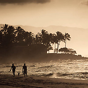 dog walkers on the north shore of Maui, Hawaii at sunset