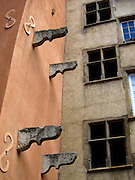 Details from an old building in the Old Town of Lyon (Vieux Lyon), in France's Rhône-Alpes region.
