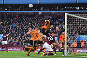 Wolverhampton Wanderers midfielder (on loan from Villarreal) Alfred N'Diaye (4) jumps highest and heads clear during the EFL Sky Bet Championship match between Aston Villa and Wolverhampton Wanderers at Villa Park, Birmingham, England on 10 March 2018. Picture by Dennis Goodwin.