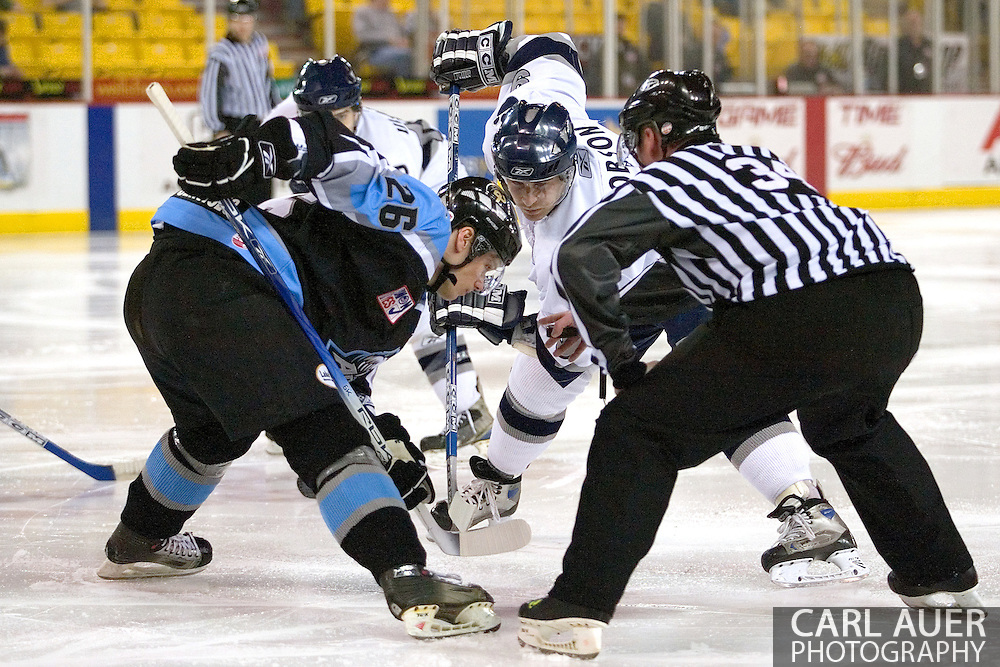 17 February, 2006 - Anchorage, AK:  Alaska's Vladimir Novak (26), and IceDog Blake Robson (9) face off in the second period during the Alaska Aces 5-1 victory over the visiting Long Beach IceDogs at Sullivan Arena.