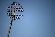 One of Edgebaston floodlights against a blue sky ahead of the Vitality T20 Finals Day 2019 match between Notts Outlaws and Worcestershire Rapids at Edgbaston, Birmingham, United Kingdom on 21 September 2019.