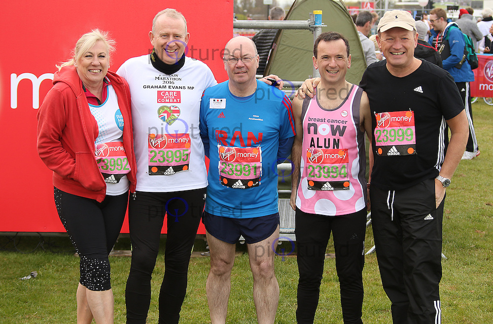 Amanda Solloway, Graham Evans, Alistair Burt, Alun Cairns & Simon Danczuk, Virgin Money London Marathon, London UK, 24 April 2016, Photo by Brett D. Cove