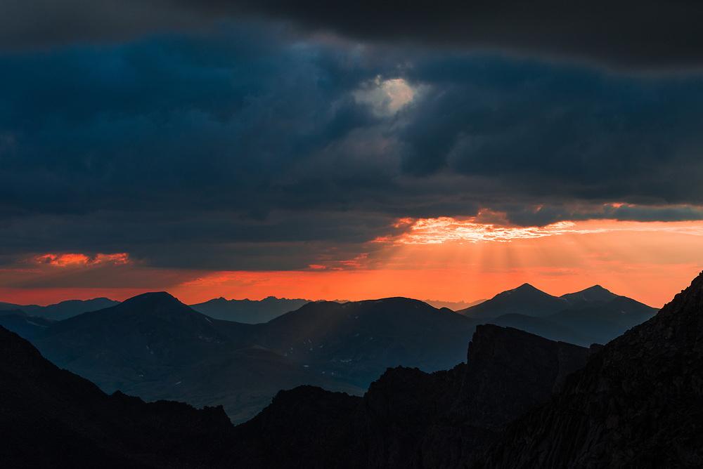A dramatic mountain sunset taken over the Colorado Front Range Mountains.<br /> <br /> NIKON D610